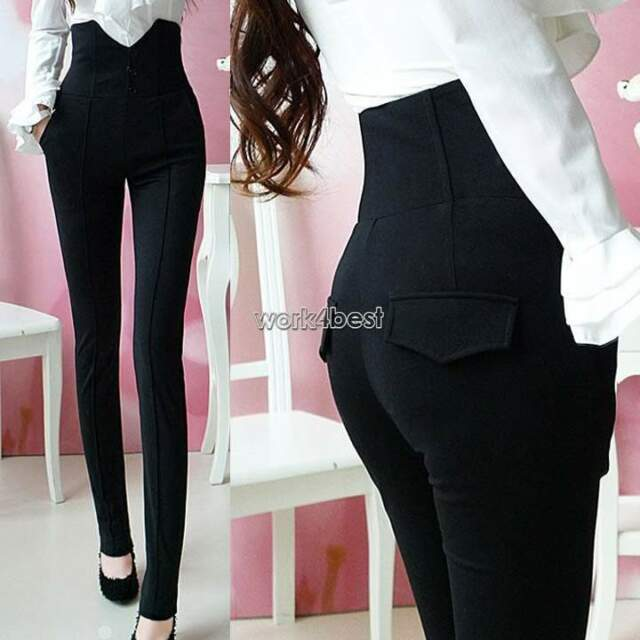 Womens Retro High Waist Skinny Dress Pants Stretchy Button Front Pencil Trousers