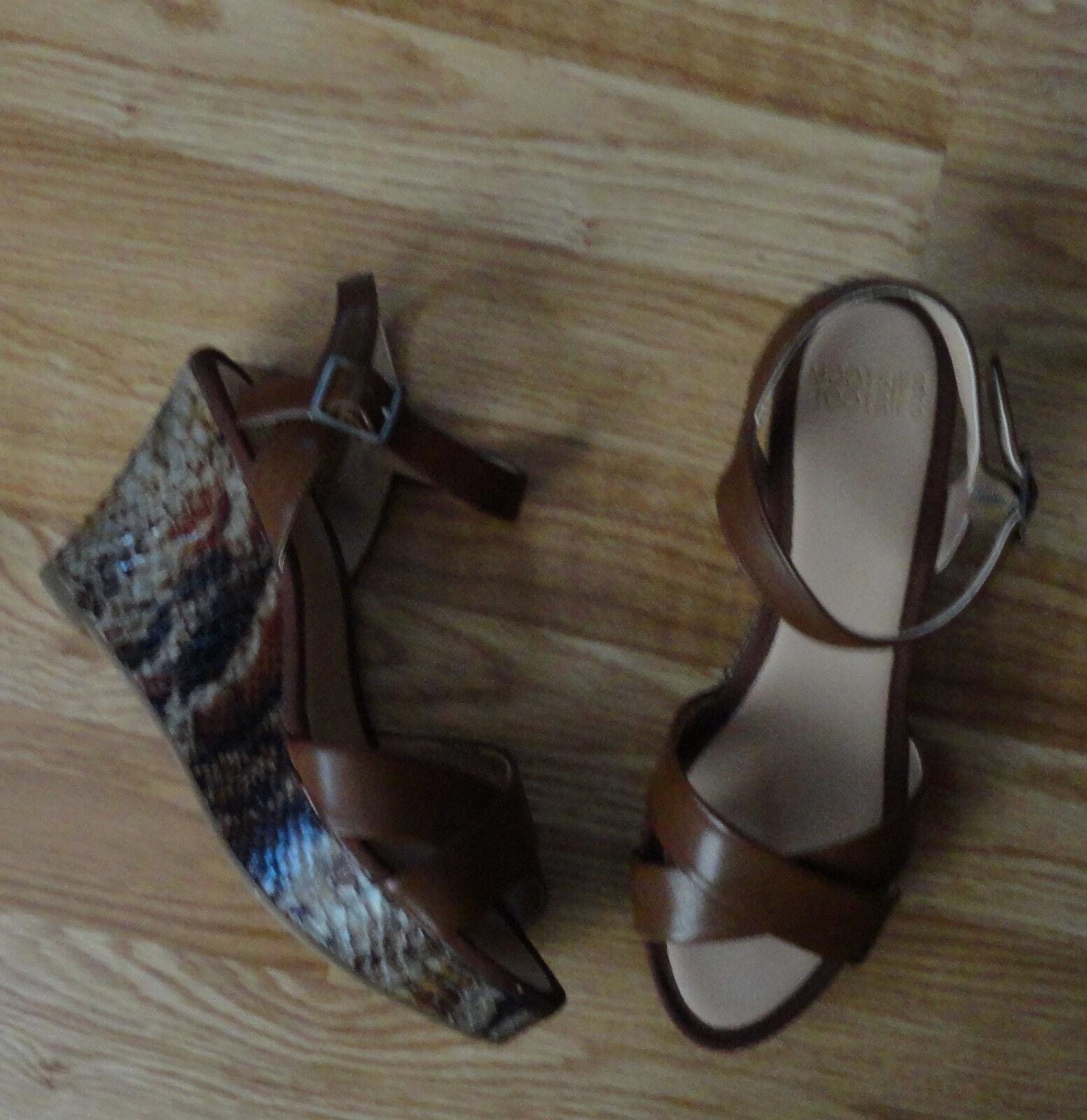 Mootsies Tootsies Women Fx Leather Snake Skin 8.5 Wedge Platform Sandal Shoe 8.5 Skin $60 908a22