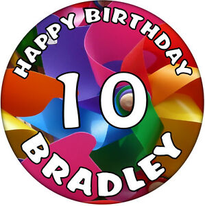 10th Birthday Personalised with Name Birthday Badge 59mm Button Badge Present