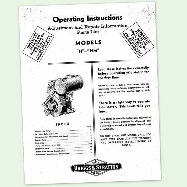 Briggs And Stratton Model H Hm Engine Owners Operator Manual Guide