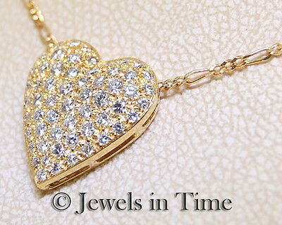 1.20 Carat Diamond Heart Pendant in 18k Yellow Gold & 14k Gold Chain Necklace