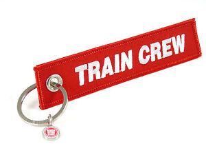 TRAIN-CREW-Schluesselanhaenger-ROT-WEISSE-Schrift