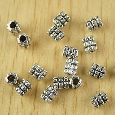 Lots 150 PCS Tibetan Silver Crafts DIY Jewelry Circles Tube Beads Stoppers 8*5mm