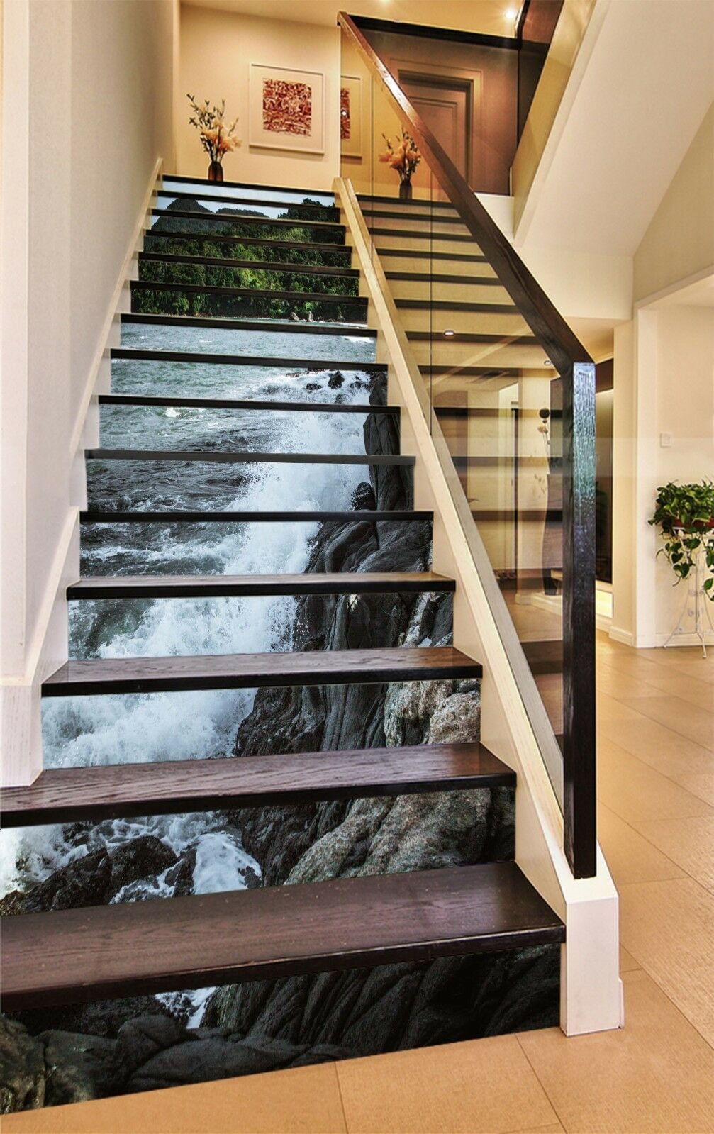 3D Stone waterfall5 Stair Risers Decoration Photo Mural Vinyl Decal Wallpaper UK