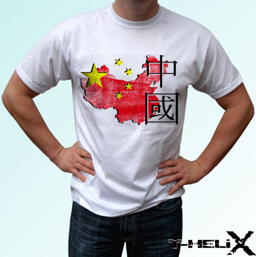white t shirt top design mens womens kids /& baby sizes China map flag