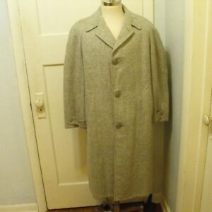 VTG-Atomic-Fleck-Grey-Overcoat-Marbury-Coat-Mens-Large-Rockabilly-1940s-1950s
