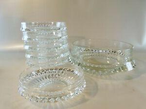 Alte-Kristallglasschale-19-cm-oben-mit-6-Dessert-Schaelchen-13-5-cm