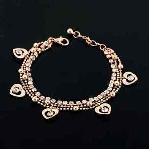 Multilayer-Armband-Armkette-gold-farbig-Strass-Armkettchen-5-Herzen-Anhanger