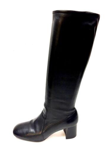 PRADA Black Stretch Leather Block-Heel Tall Boots
