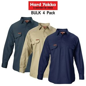 Mens-Hard-Yakka-Cotton-Drill-4-PACK-Long-Sleeve-Closed-Front-Shirt-Work-Y07530