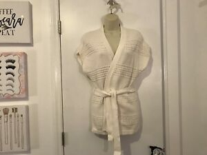 Old Navy Ivory Open Front Tie Waist Woven Wrap Sweater Kimono Top X-small Xs Choice Materials