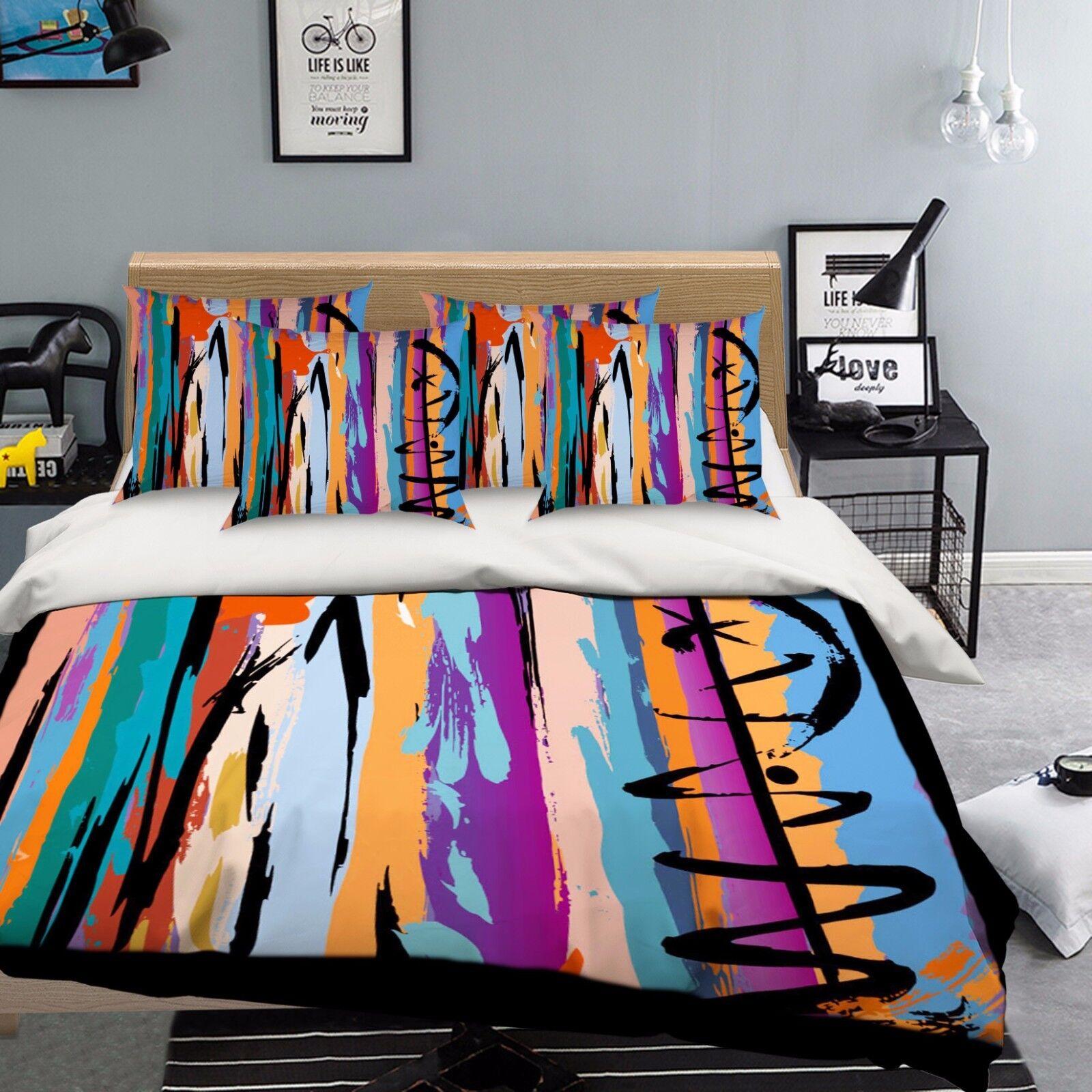 3D Graffiti 918 Bed Pillowcases Quilt Duvet Cover Set Single Queen UK Summer