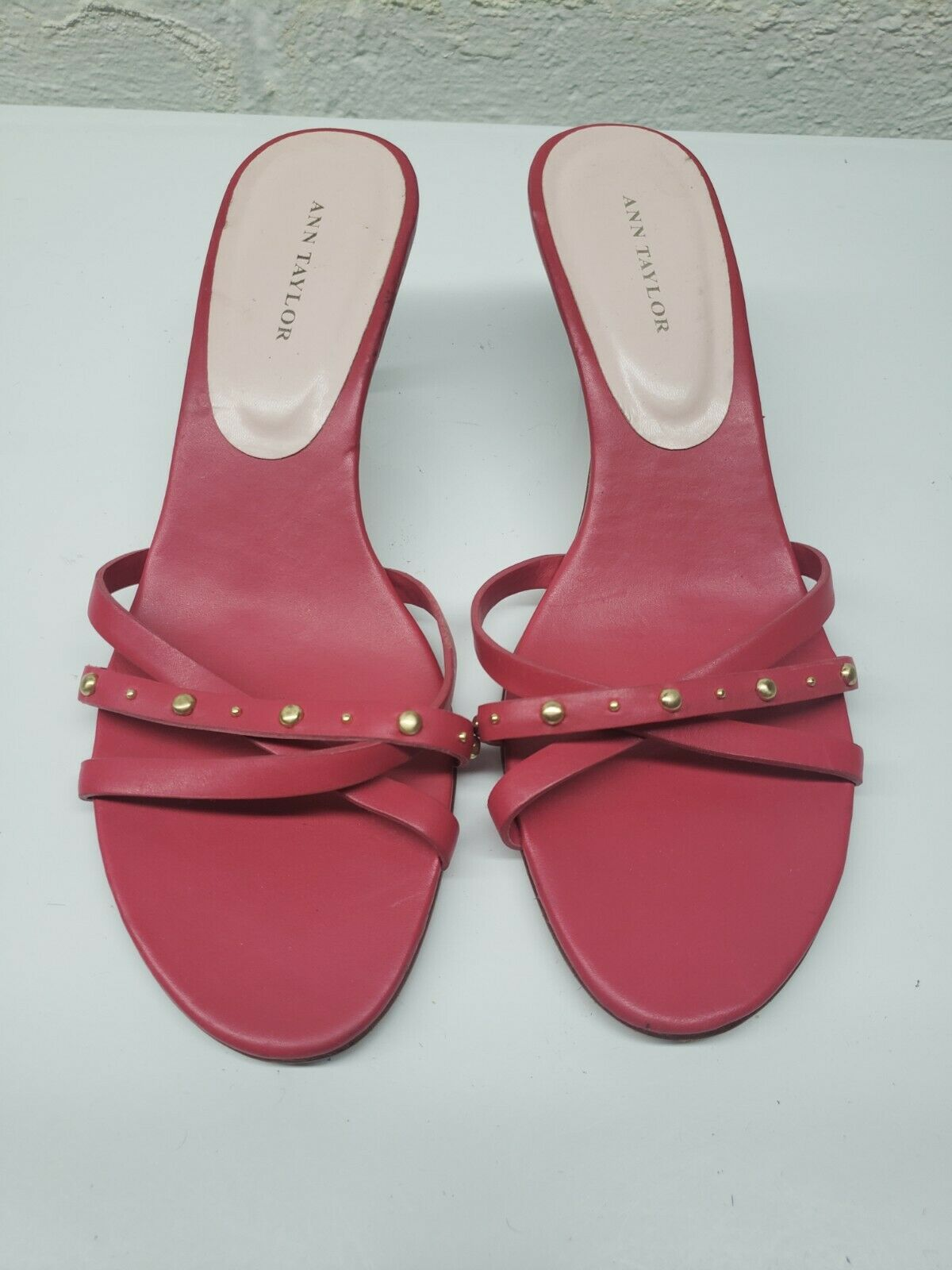 Ann Taylor Womens Leather Casual Open Toe Slip On Coral Strappy Sandals Size 6 M