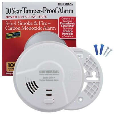 10 Year Sealed Carbon Monoxide Detector Smoke Fire No Battery