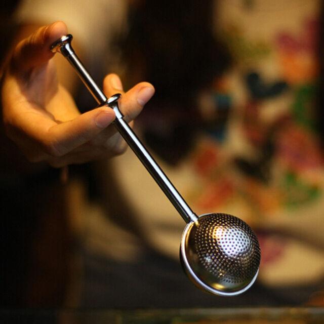 Ball Push Style Tea Leaf Herbal Locking Infuser Strainer Teaspoon Filter Newest