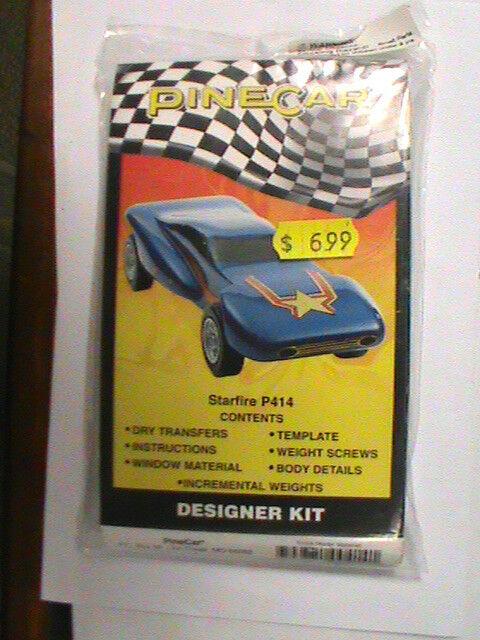 Pinewood Derby Car Starfire P414 Designer Kit New Nip Models