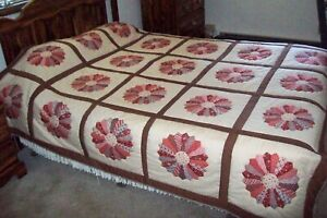 694-NEW-DRESDEN-PLATE-QUILT-89-034-x89-034-HAND-STITCHED-CHEATER-TOP-PATTERN-QUEEN