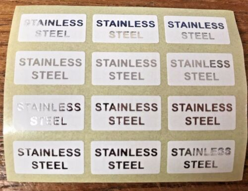 STAINLESS STEEL Jewellery Labels Stickers 20mm x 10mm Gold or Black on White