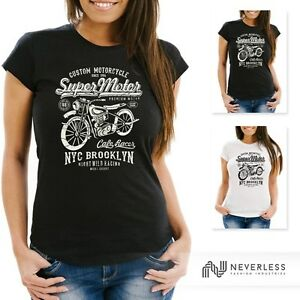 Damen-T-Shirt-Biker-Shirt-Motorrad-Super-Motor-Retro-Vintage-Slim-Fit-Neverless