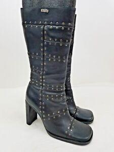 53c633fc94be4 Image is loading El-Dantes-39-Black-Leather-Platform-Heels-Studded-