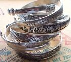 Bohemian Bracelet Tibetan Totem Style Bangle Cuff Antique Symbolic Silver Tone