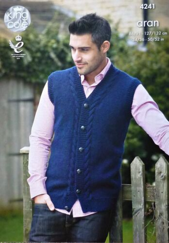 KNITTING PATTERN Mens Cable Waistcoat and Jumper Aran King Cole 4241
