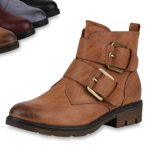 Damen Stiefeletten Biker Boots Profilsohle Schuh Leicht Schuhe 818912 Top