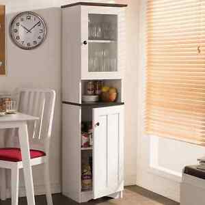 Details about Tall Kitchen Cabinet Storage Cupboard White Freestanding  Pantry Organizer Shelf