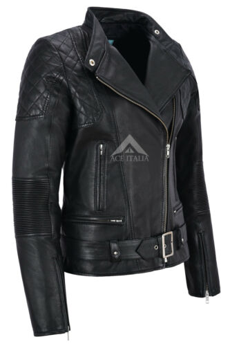 Leather Real Style Jacket Lambskin Charlie Women Shoulder Biker Black Quilted 1fxqWC5wP