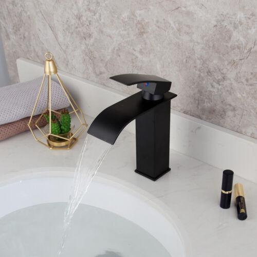 Base Matte Black Waterfall Bathroom Basin Mixer Faucet Single Hole Brass Tap