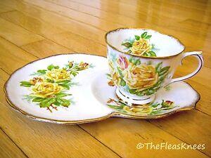 Royal-Albert-England-YELLOW-TEA-ROSE-Coffee-Tea-Cup-and-Luncheon-Plate-Set