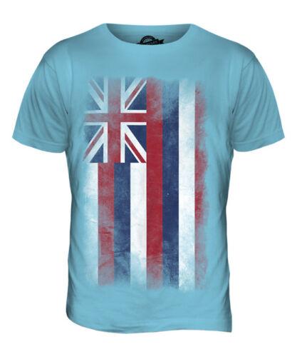 Hawaii state délavé drapeau t-shirt homme tee top chemise hawaïenne jersey cadeau
