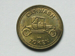 Car-Wash-Token-Coin-with-Antique-Car-034-Non-Refundable-034-034-No-Cash-Value-034-HH