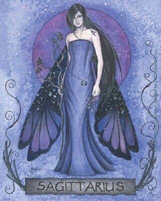 "Jessica Galbreth Sagittarius Zodiac Fairy Faery Sticker Decal 4""x5"" Fantasy Art"