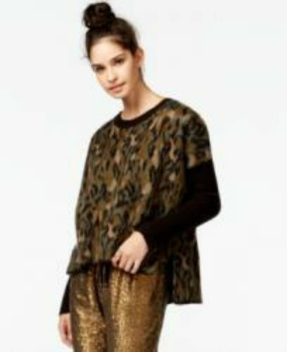 Rachel Rachel Roy High Low Animal Print Combo Sweater Army Green Combo Size S XL
