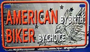 Novelty-motorcycle-license-plate-AMERICAN-BIKER-Patriotic-Made-in-U-S-A-MP-1018