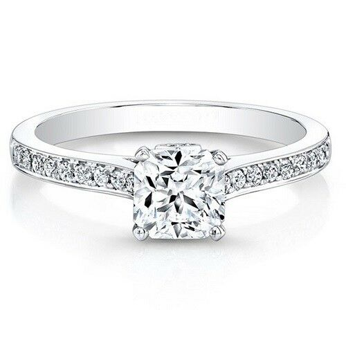 0.56 Ct Real Genuine Diamond Engagement Ring Set Solid 14K White gold Ring