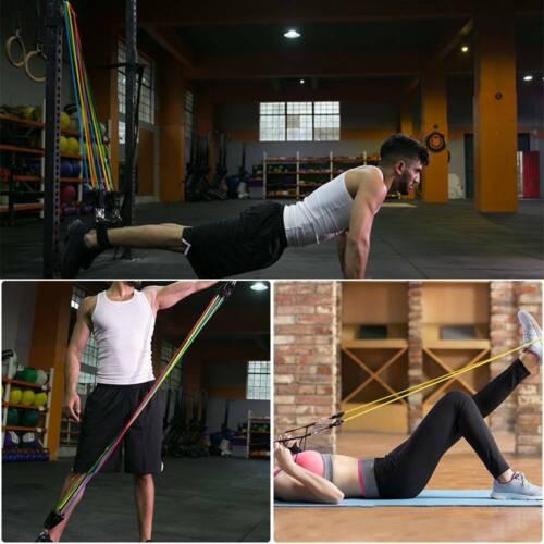 12tlg Widerstandsbänder Gymnastikband Fitnessbänder Resistance Expander Yoga Set