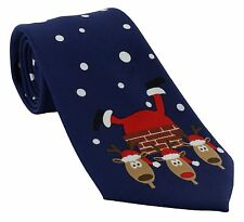 Michelsons of London Father Christmas Chimney Scene Polyester Tie