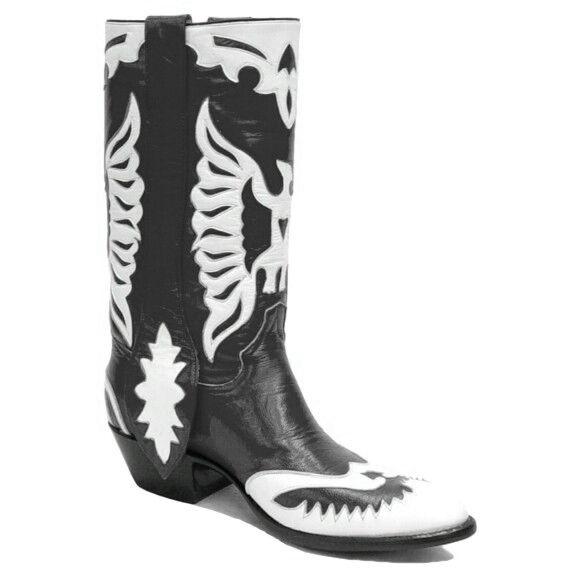 Rancho Loco Schwarz & Weiß Doppel Eagle Klassisch Cowboy Stiefel Herren Größe 9d      Hohe Qualität