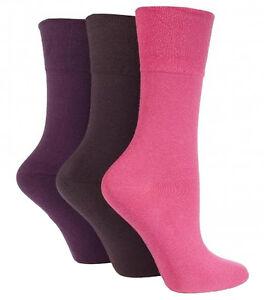 3-Pairs-Ladies-Plain-Dark-Pink-Mix-Gentle-Grip-Everyday-Cotton-Socks-Size-4-8