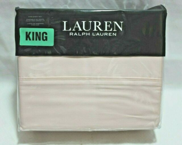 Ralph Lauren Dunham Sateen King Four Piece Sheet Set Peony Pink New
