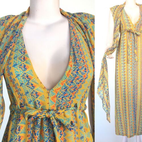 1970s Stephen Burrows Vintage Dress All Silk Maxi