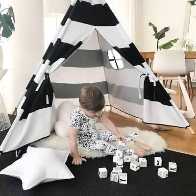 Tipi Spielzelt für Kinder Baumwolle-Segeltuch Teepee Kinderzelt Wigwam Indianer