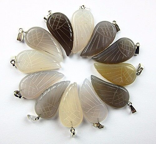 12PCS 30x16x6mm gray agate carved wing pendant bead Vk5512