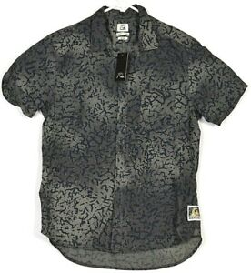 Quiksilver-Shirt-Medium-Mens-Dress-Shirt-Button-Up-Formal-Designer-RETRO-Top-M