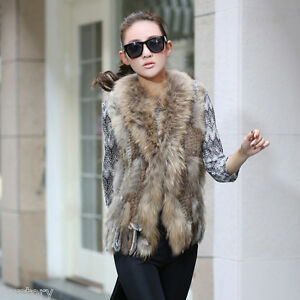 020101 Real Rabbit Fur Vest Fur Collar Waistcoat Gilet Women Fur ...