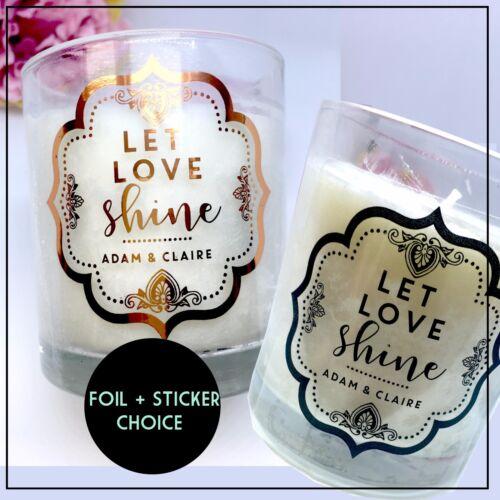 Bougie Autocollants Feuille Étiquette LET LOVE SHINE Glow cadeau transparent personnalisé