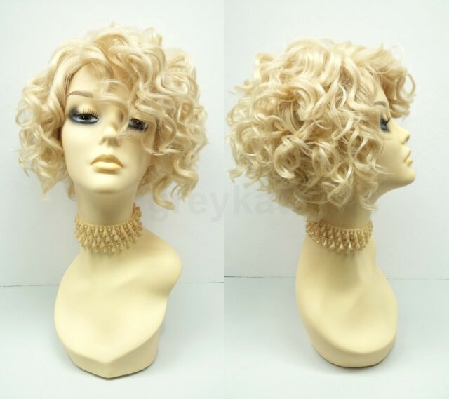 Wig Ladies Carnival Diva Hollywood short Curly Centre Parting Light Blond Blonde