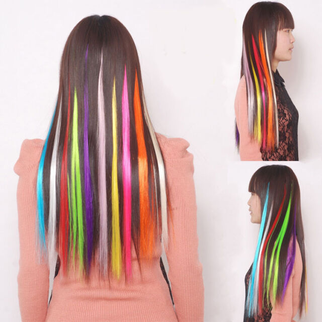 5PCS Mixed Colorful Straight Wig Clip On Hair Extensions